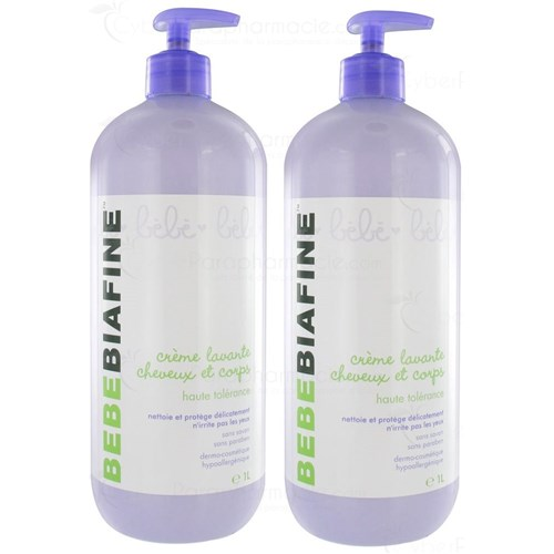 BEBEBIAFINE, washing cream hair and body, pump bottle 1 Liter LOT DE 2