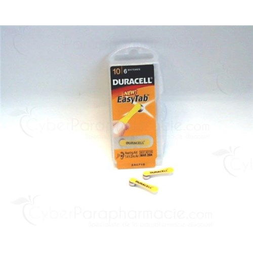 DURACELL EASYTAB PILE AUDITIVE, Pile zinc air 10 HPX, pour prothèse auditive. - bt 6
