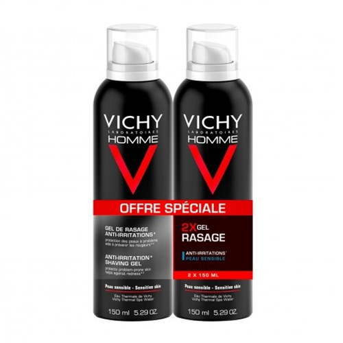 GEL DE RASAGE ANTI-IRRITATIONS VITAMINE C PEAUX SENSIBLES 2X150ML HOMME VICHY