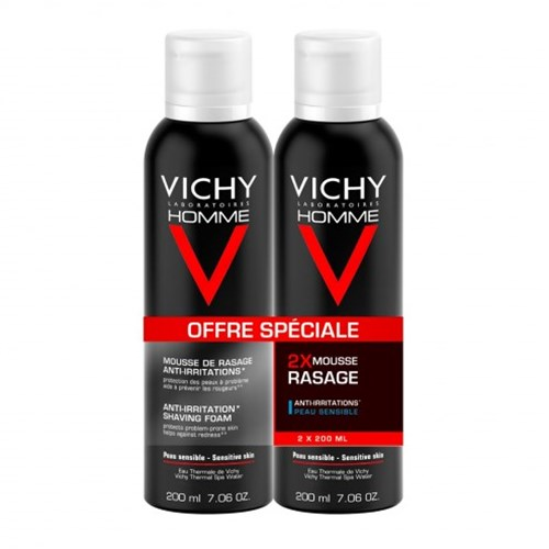 MOUSSE A RASER ANTI-IRRITATIONS VITAMINE C PEAUX SENSIBLES 2X200ML HOMME VICHY
