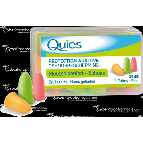 QUIES MOUSSE CONFORT, Bouchon auriculaire antibruit en mousse malléable. - bt 3 paires